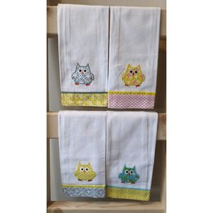 Set of Four Owl Towels